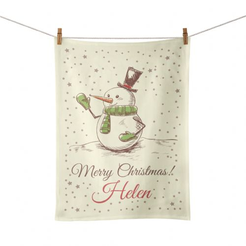 Personalised Christmas Snowman Tea Towel - Vintage Design